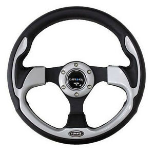 Nrg Steering Wheel 320mm Sport Leather With Silver Inserts pilot Pilota Style