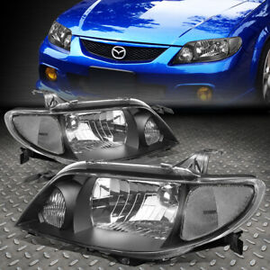 For 01 03 Mazda Protege Black Housing Clear Corner Headlight Replacement Lamps
