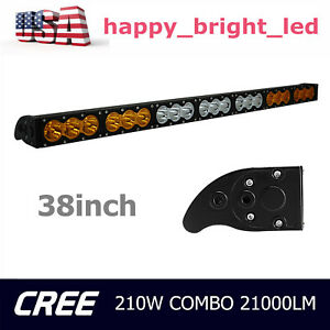 38 210w Cree Single Row Led Light Bar Amber White Combo Off road 4wd Dual Color