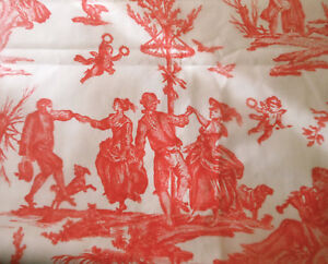 Vintage Persimmon Red French Pastoral Seasons Toile Polished Cotton Fabric Bty