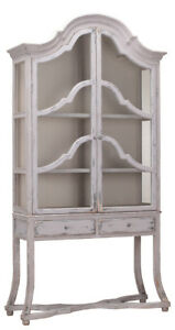 French Country Arched Pine Wood Cabinet Glass Doors 100 H