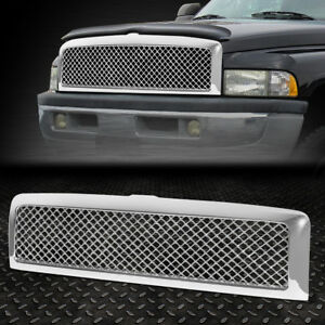 For 94 02 Dodge Ram Chrome Abs Diamond Meshed Front Bumper Upper Grille Guard