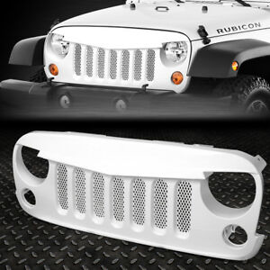 For 07 17 Jeep Wrangler Gloss White Front Bumper Angry Bird Diamond Mesh Grille