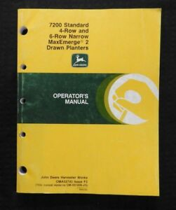 John Deere 7200 Maxemerge 2 4 row Wide 6 row Narrow Drawn Planter Manual Nice
