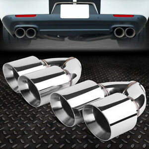2pcs Stainless Steel Dual Exit Exhaust Muffler Tips Universal Fit 2 5 Piping