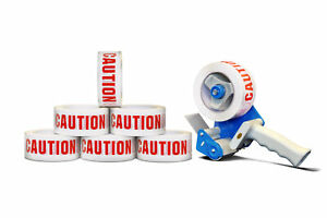 12 Rolls Safety Caution Warning 2x110 Yards Adhesive Tape 2 Mil With Dispenser