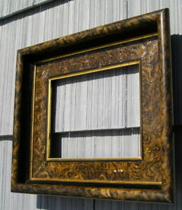 Antique Victorian Wide Eastlake Profuse Carved Green Marbled Picture Frame 8 10