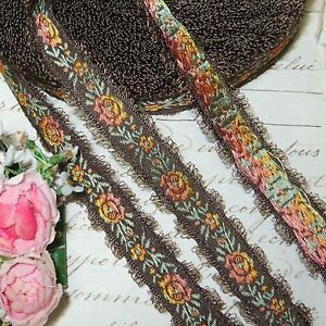 1y Vtg French Brown Feather Picot Rose Flower Jacquard Ribbon Trim Brocade Antiq