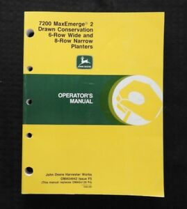 John Deere 7200 Maxemerge 2 Drawn Conserv 4 row 6 row Narrow Planter Oper Manual