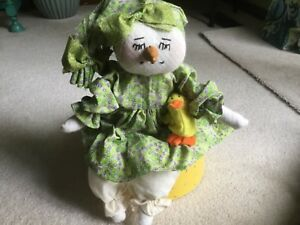 Primitive Folk Art Snowman Doll Easter Dress With Baby Chick Cute Collectible