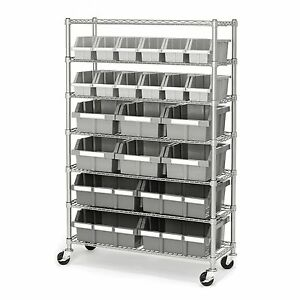Commercial Industrial Garage 22 Bin Storage Shelving Rolling Rack 7 Wire Shelves