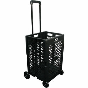 Pack Roll Wheeled Folding Mesh Cart Basket Grocery Shopping Laundry Multi use