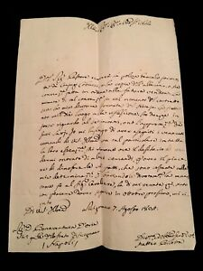 Letter In Italian Antique Document Deputy Of The Kingdom Of Naples 1804
