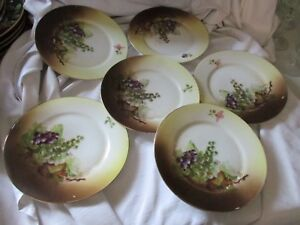 J C Bavaria Signed A Koch Lot Of 6 Dessert Plates Hand Painted Grapes