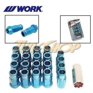 Work Racing Rs R Extended Forged Aluminum Lock Lug Nuts 12x1 25 1 25 Blue Open S