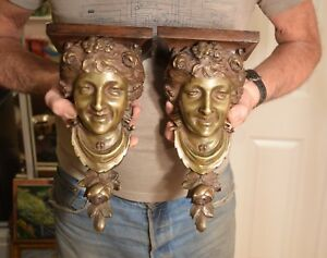 Superb Pair Of Antique Smiling Woman Bronze Busts Wall Brackets