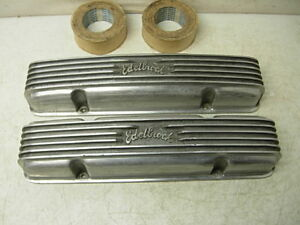 Real 50s Edelbrock Curved Script Aluminum Valve Covers 55 61 Chevy V8 283 327