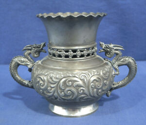 Vintage Antique Derby Silver Co Silverplate Dragon Gargoyle Handle Urn Aesthetic