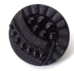 5 Victorian Black Glass Buttons Facets And Grooved Ribbons 1 2 Inch