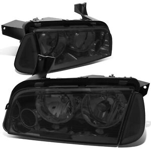 Fit 2006 2010 Dodge Charger Pair Smoked Houisng Headlight clear Turn Signal Lamp