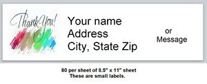 80 Small Personalized Address Labels Thank You Buy 3 Get 1 Free t5