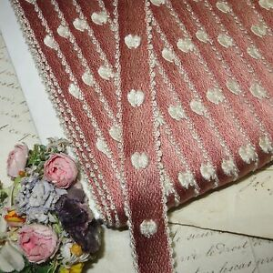 1y Vtg 3 4 Mauve Pink Ombre Ribbon Trim Brocade Rococo Jacquard French Dress