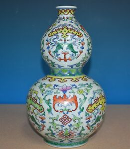 Elegant Antique Chinese Doucai Porcelain Vase Marked Qianlong Rare Y5913
