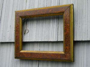 Antique Aesthetic Eastlake Victorian Brown Burl With Gilt Gold Picture Frame 6 8