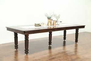 Victorian 1900 Antique Square Oak Dining Table 6 Leaves Spiral Legs