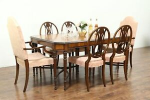 Marquetry Inlaid Satinwood Antique Dining Set 6 Chairs Table 3 Leaves
