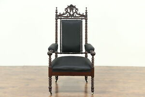 Victorian Gothic 1860 Antique Spool Turned Walnut Chair Black Upholstery