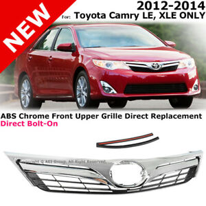 For Toyota Camry Le Style 2012 2014 Front Bumper Upper Hood Grille Chrome