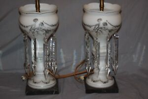 Mantle Lustres Pair Victorian Angel Glass Crystal Dangle Luster Electric Lamps