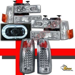 1994 1998 Chevy Ck Suburban Silverado Halo Healdights Set Led Tail Lights G2