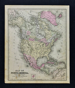 1887 Cowperthwait Map North America United States Canada Mexico Cuba Alaska