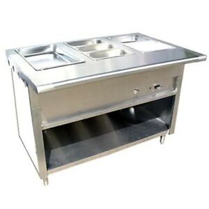 48 4ft Steam Table Stainless Steel Natural Gas 3 Pans Single Burner 20k Btu Nsf