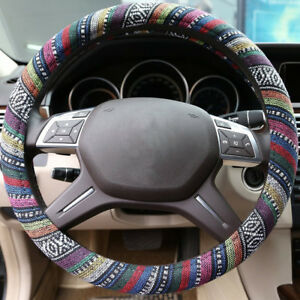 Ethnic Flax Steering Wheel Cover Universal 14 5 Breathable Anti Slip For Ford