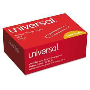 Universal Jumbo Smooth Silver Paper Clips case Of 30