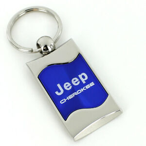 Jeep Cherokee Blue Spun Brushed Metal Key Ring