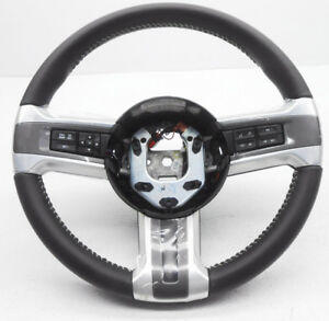 New Oem Ford Mustang Steering Wheel Dark Grey Leather White Stitch W Controls