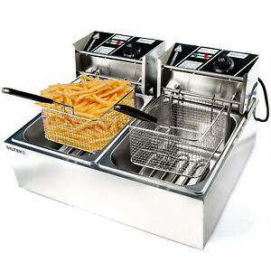 Commercial Deep Fryer Electric Countertop Dual Tank Basket 11l 3200w Up To 374f