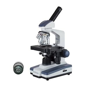Amscope 40x 1600x Led Monocular Darkfield Compound Microscope With Double layer