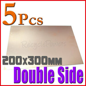 5 Pcs Copper Clad Laminate Circuit Boards Fr4 Pcb 200mm X 300mm Double Side