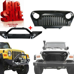 Front Bumper Guard Plate Gladiator Grille Mesh For Jeep Wrangler Tj 1997 2006