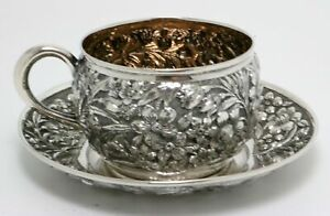 Sterling Silver Repousse Cup And Saucer By J B S M Knowles 1875 1905