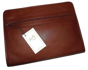 Scully Italian Leather Zippered Business Portfolio With Tablet Pocket Brown