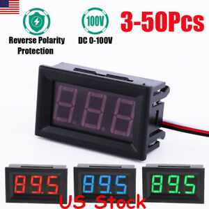 New 3 50pcs Mini Led Dc 100v Voltmeter Gauge Voltage Volt Panel Meter Display Us