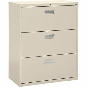 Sandusky Lf6a36307 3drawer Lateral File Cabinet putty 36inwx19 1 4indx40 7 8inh
