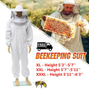 Beekeeper Protector Bee Keeping Suit Jacket Veil Hat All Body Equipment Hood 2xl