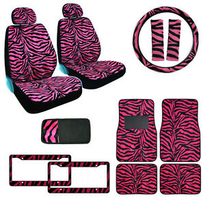 Hot Pink Zebra Print Car Truck Front Seat Covers Floor Mats Steering Wheel Cover